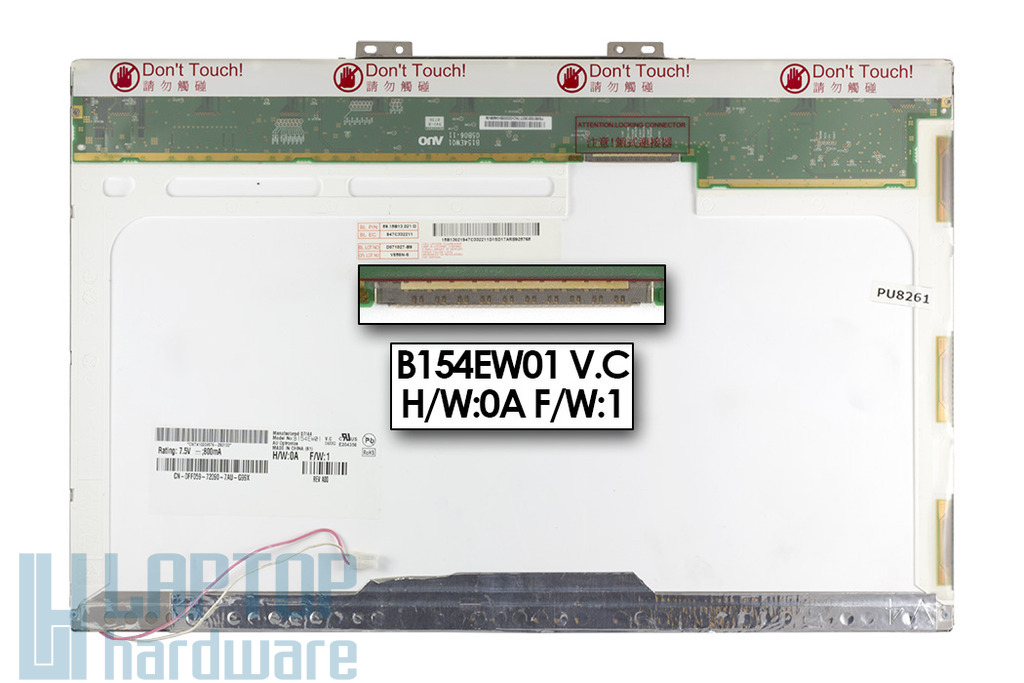 AU Optronics B154EW01 V.C  WXGA CCFL 15.4'' használt B kategóriás fényes laptop kijelző