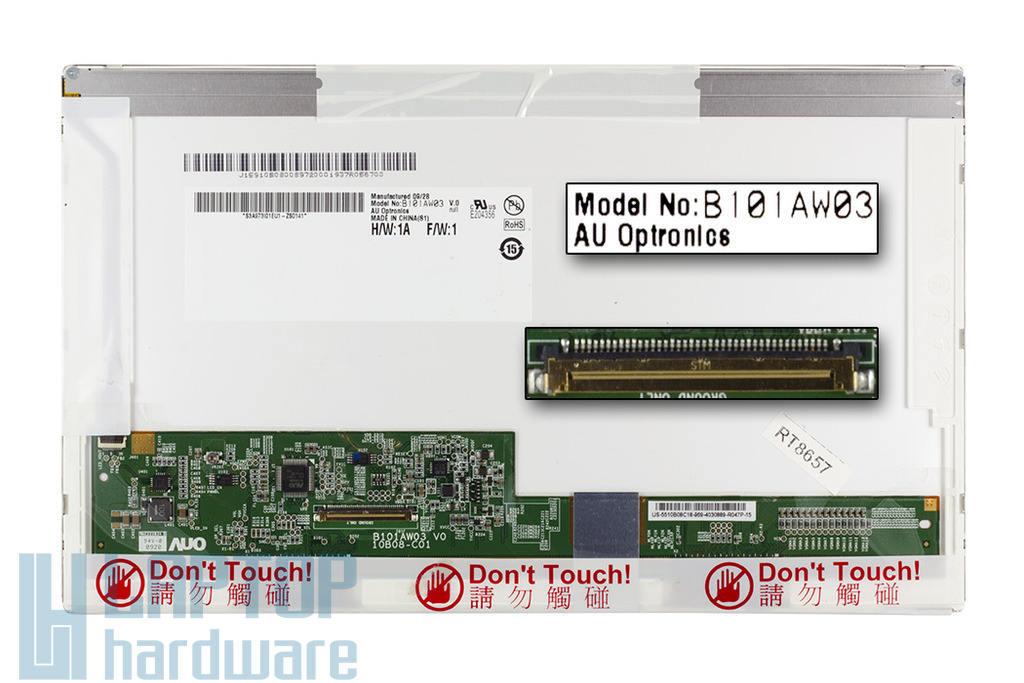 AU Optronics B101AW03 használt WSVGA 1024x600 fényes LED laptop kijelző