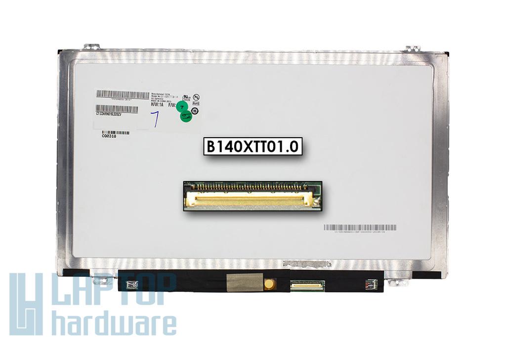 AU Optronics B140XTT01.0 használt fényes 14.0'' (1366x768) LED laptop Slim kijelző (csatlakozó: 40 pin - jobb alul)