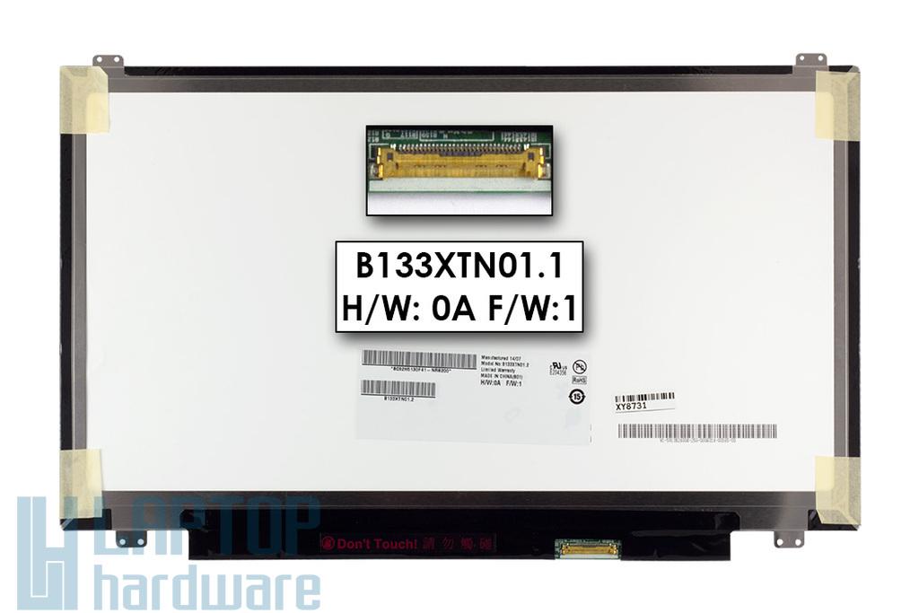 Gyári új fényes 13.3'' HD (1366x768) eDP LED laptop Slim kijelző (csatlakozó: 30 pin - jobb)