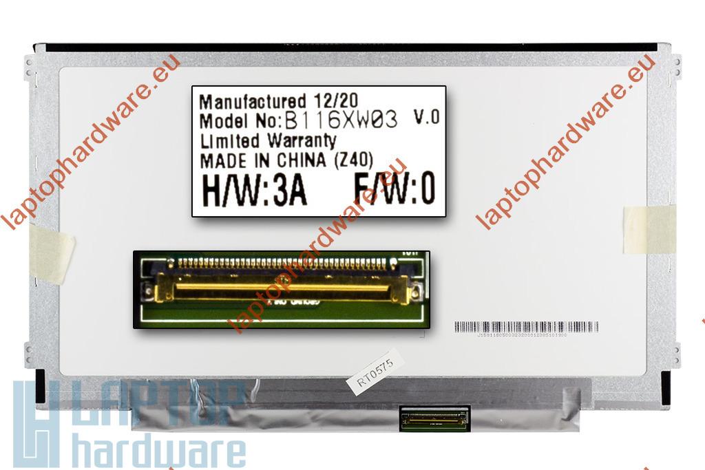 AUO B116XW03 V0 HD Slim LED (1366x768) használt fényes laptop kijelző