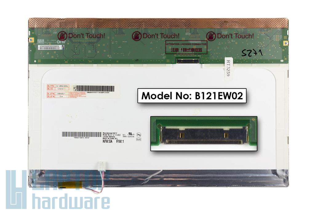 AUO B121EW02 12,1 inch CCFL WXGA 1280x800 használt laptop kijelző