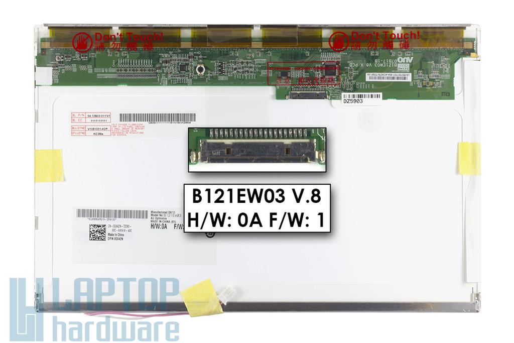 AUO B121EW03 V.8 (12.1 inch) WXGA 1280*800 Gyári Új fényes laptop kijelző, DP/N: 0G642N