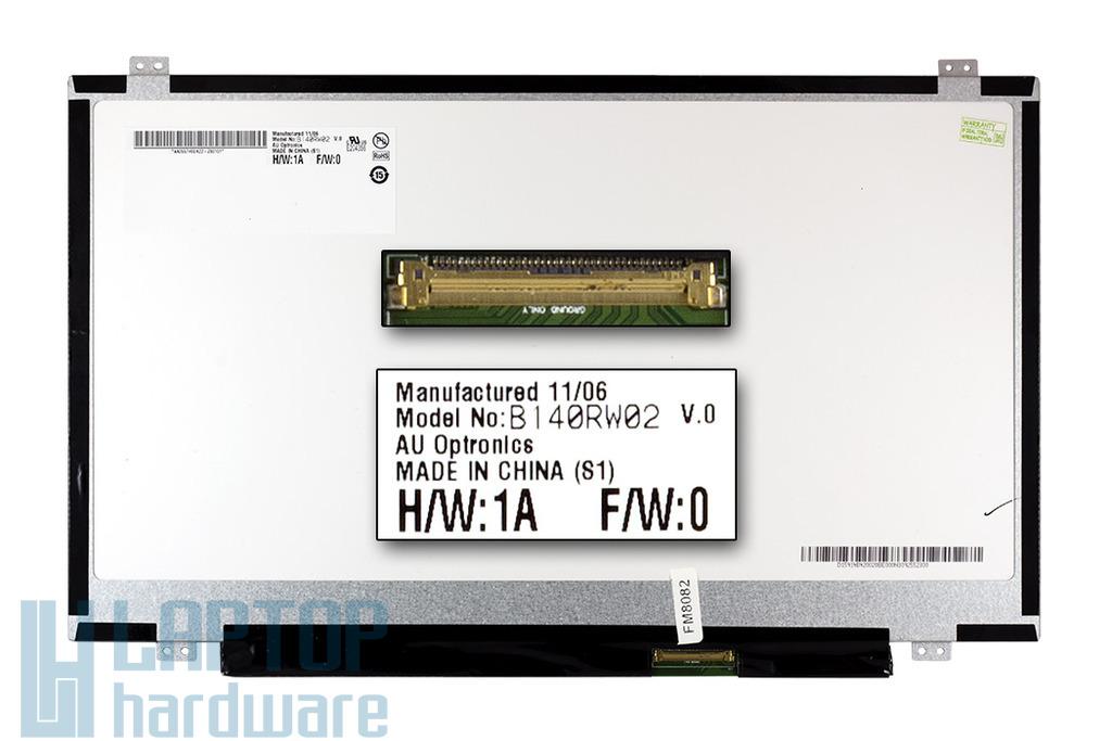 AUO (B140RW02) 14.0'' WXGA++ HD+ 1600x900 használt Slim LED fényes laptop kijelző
