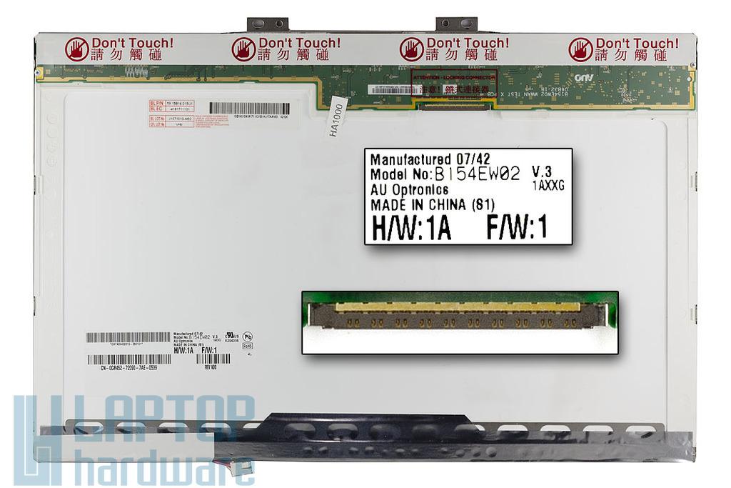 AUO B154EW02 V.3 15.4 inch WXGA használt fényes laptop kijelző