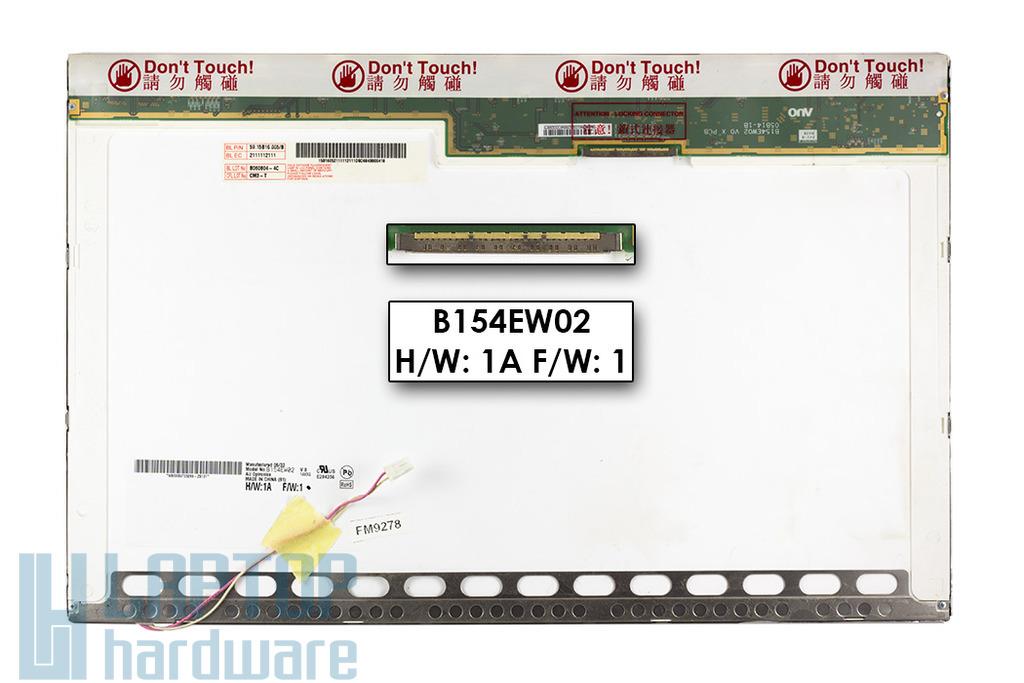 AUO B154EW02 V.0 15.4 inch WXGA használt matt laptop, notebook kijelző C kategóriás