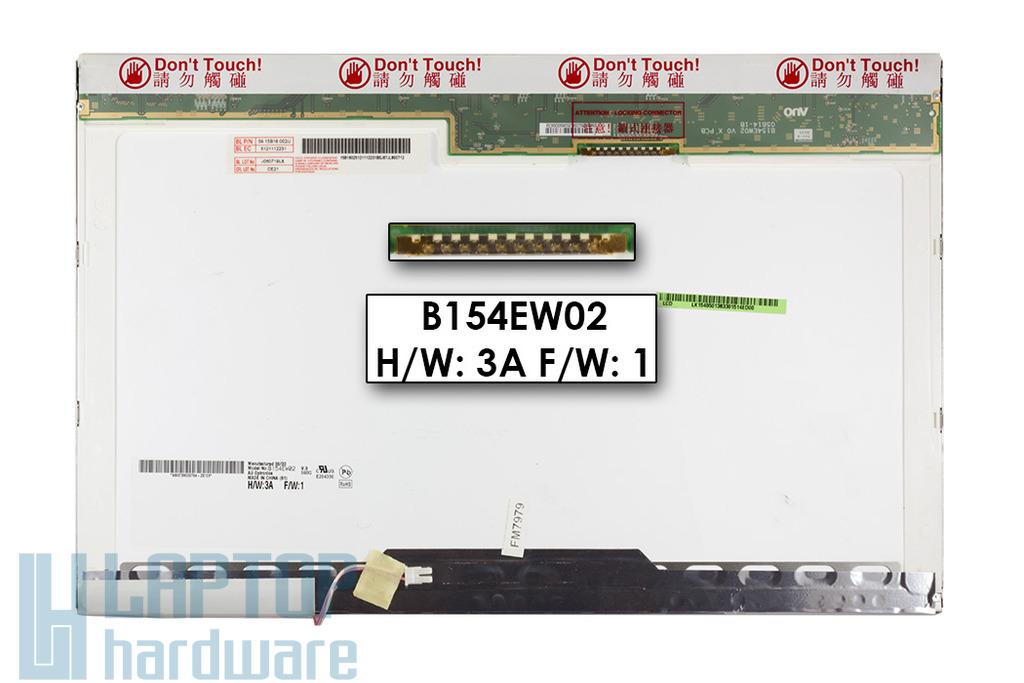 AUO B154EW02 V.0 15.4 inch WXGA használt matt laptop, notebook kijelző