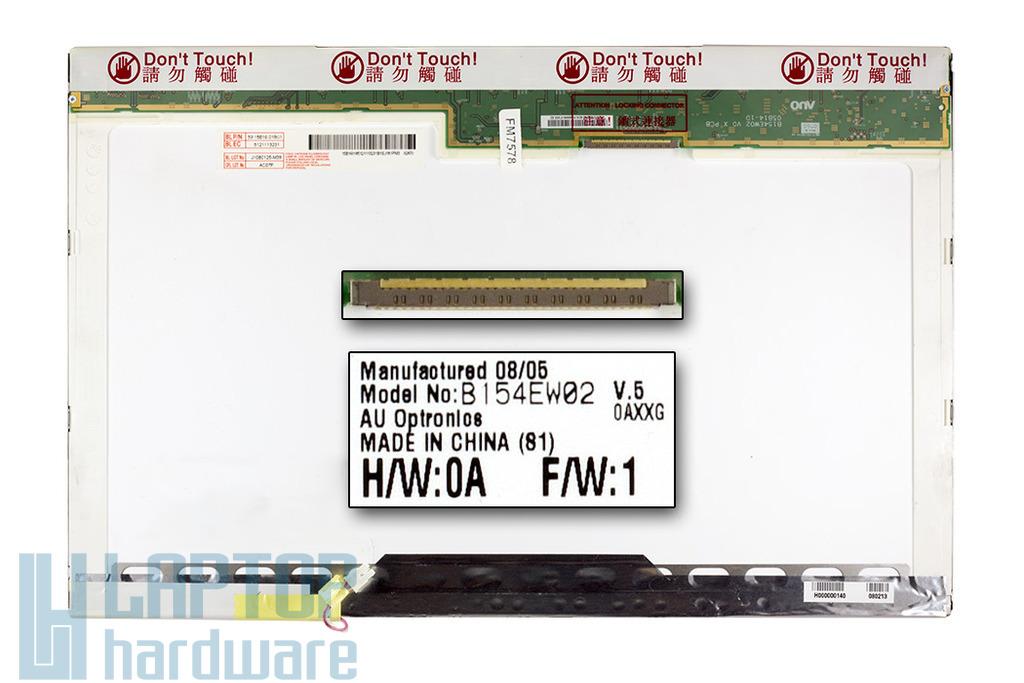 AUO B154EW02 (V.5) 15.4 inch WXGA használt B kategóriás fényes laptop kijelző