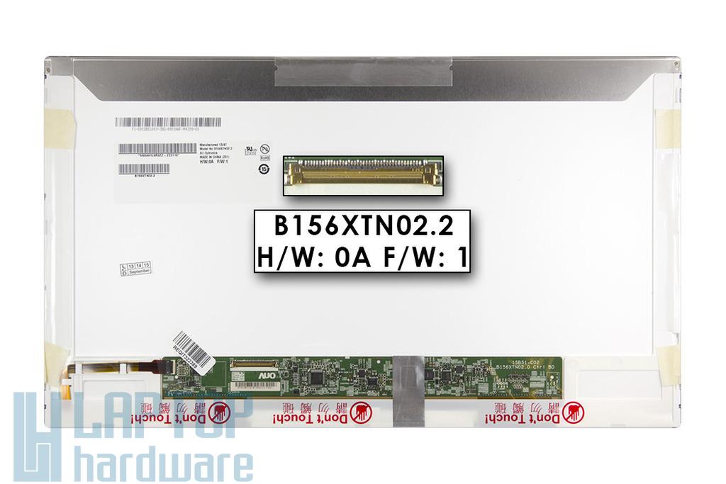 Gyári új fényes 15.6'' HD (1366x768) LED laptop kijelző (csatlakozó: 40 pin - bal)