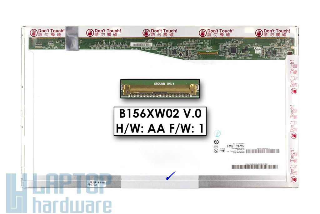 AUO B156XW02 V.0 H/W:AA BALOS! (15.6 inch) 1366x768 HD LED használt fényes laptop kijelző