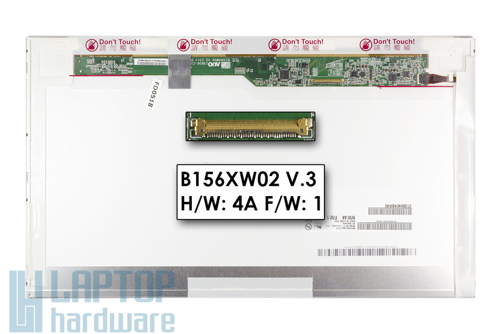 """AUO B156XW02 V.3 15,6"""" 1366x768 HD LED használt matt laptop kijelző"""