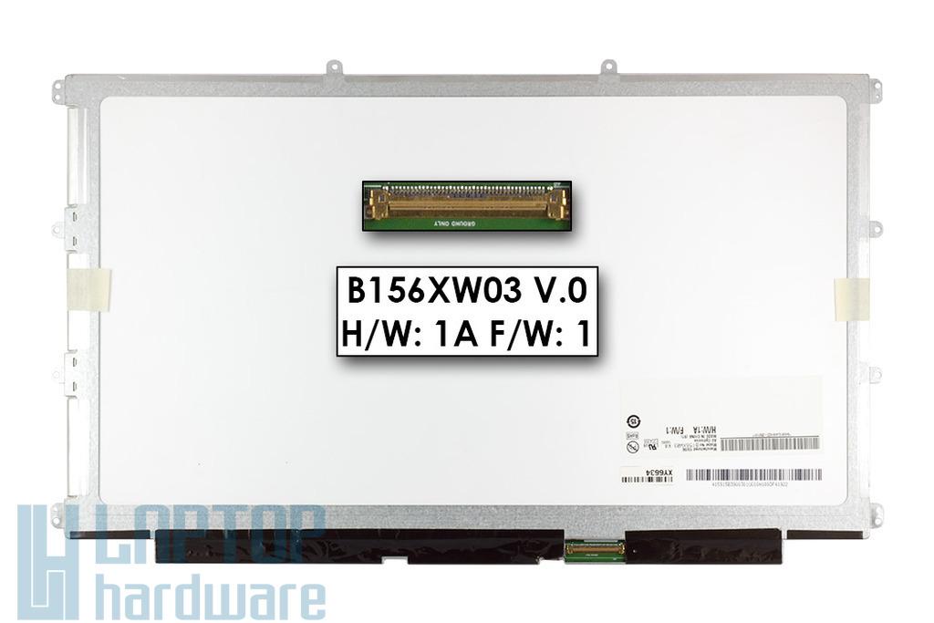 Gyári új fényes 15.6'' WXGA HD (1366x768) LED Slim kijelző Asus UL50AG laptophoz (csatlakozó: 40 pin - jobb)