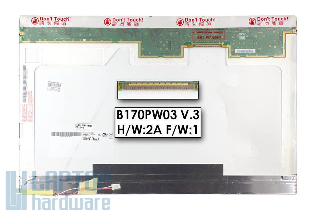 AUO B170PW03 V.3 17'' 1440x900 WXGA+ használt matt laptop kijelző
