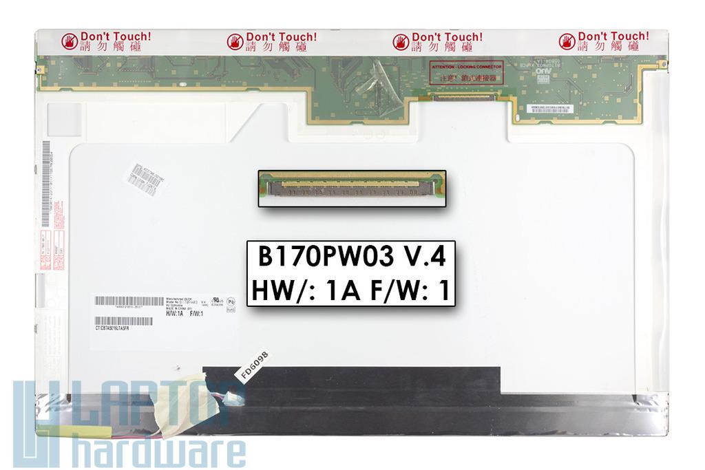 AUO B170PW03 V.4 17'' 1440x900 WXGA+ használt fényes laptop kijelző