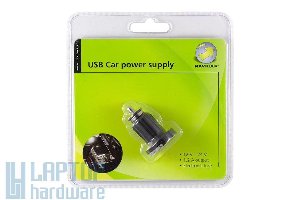 Autós USB töltő aljzat, Input 12-24V, Output 5V 1.2A