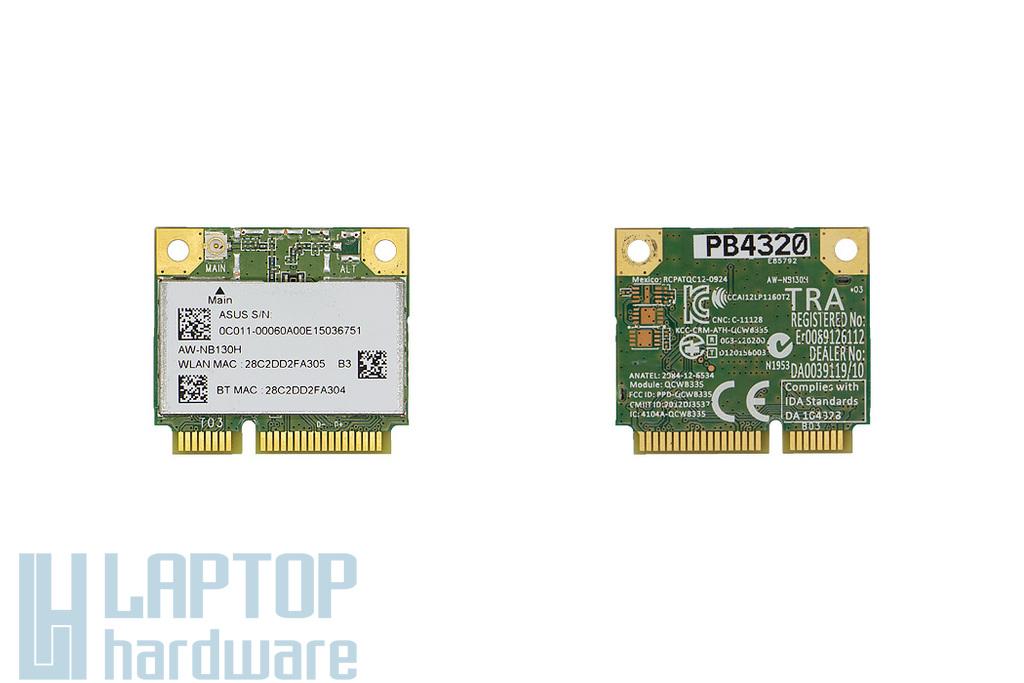 AW-NB130H (QCWB335) használt Mini PCI-e (half) WiFi + Bluetooth (4.0) kártya Asus laptophoz (0C011-00060A00)