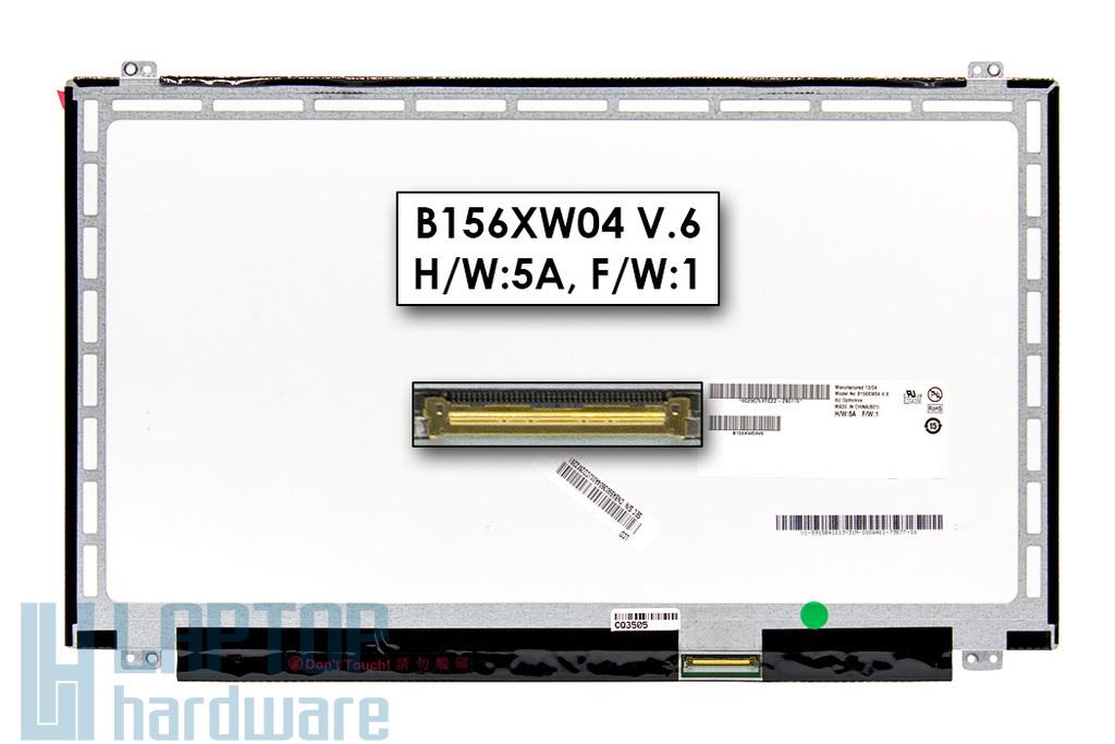 B156XW04 V6 használt matt 15.6'' HD (1366x768) LED laptop Slim kijelző (csatlakozó: 40 pin - jobb)