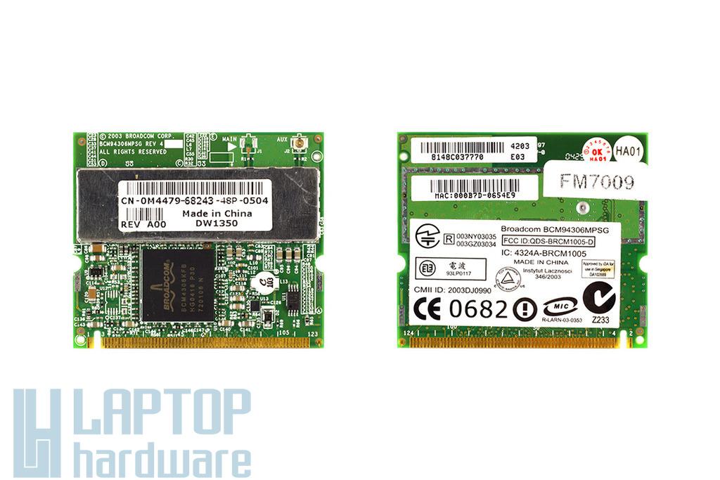 Broadcom BCM94306MPSG használt Mini PCI WiFi kártya Dell laptophoz (DPN 0M4479)
