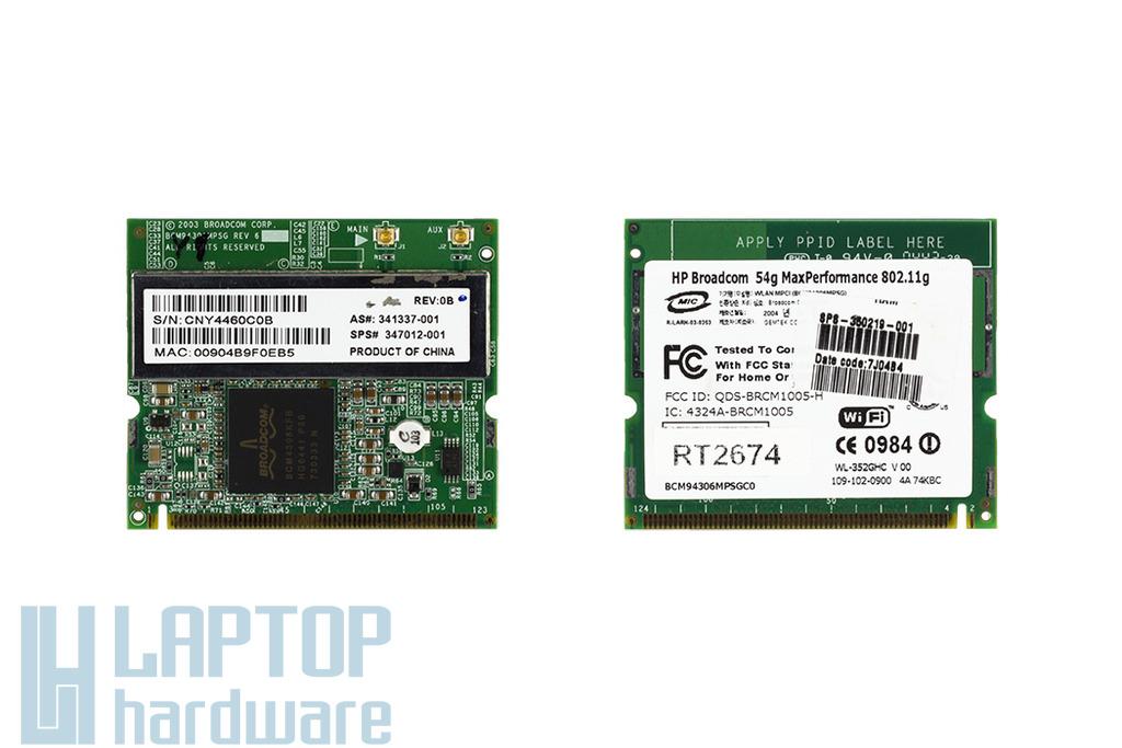 Broadcom BCM94306MPSGC0 használt Mini PCI WiFi kártya HP laptophoz (350219-001)