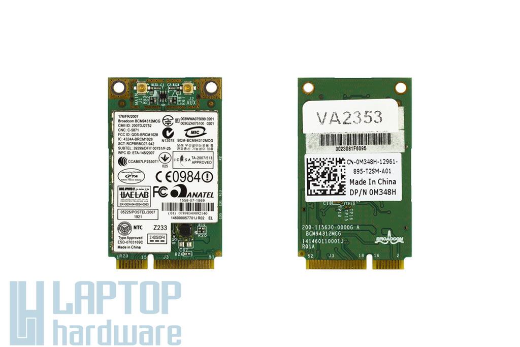 BroadCom BCM94312MCG használt Mini PCI-e WiFi kártya Dell laptophoz (0M348H)