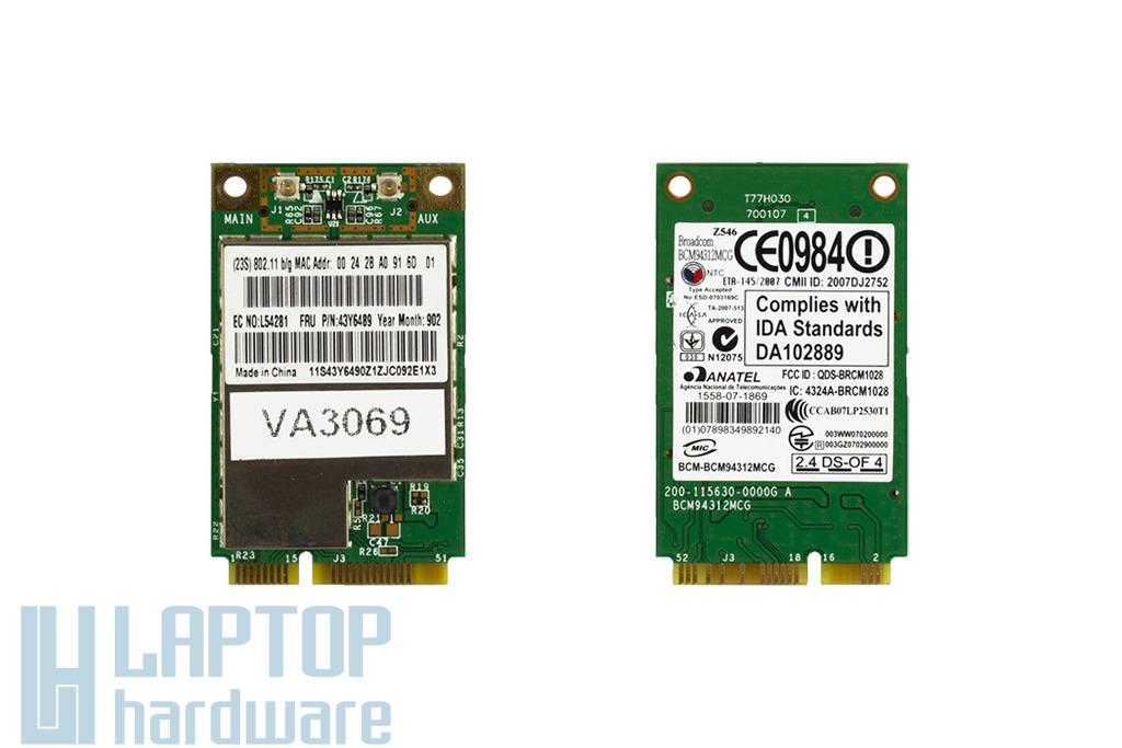 BroadCom BCM94312MCG használt Mini PCI-e WiFi kártya Lenovo laptophoz (43Y6489)
