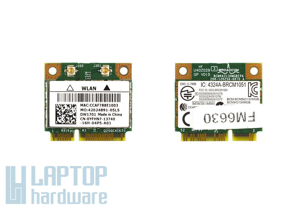 Broadcom BCM94313HMGB használt Mini PCI-e (half) laptop WiFi kártya Bluetooth Combo Dell laptopokhoz (CN-0YFHN7)