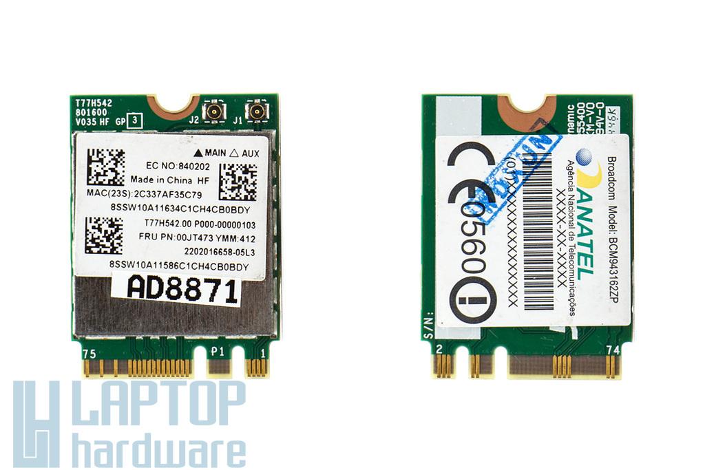 Broadcom BCM943162ZP M.2 Mini 802.11a/b/g/n/ac WLAN + Bluetooth 4.0 NGFF kártya Lenovo laptopokhoz (00JT473)