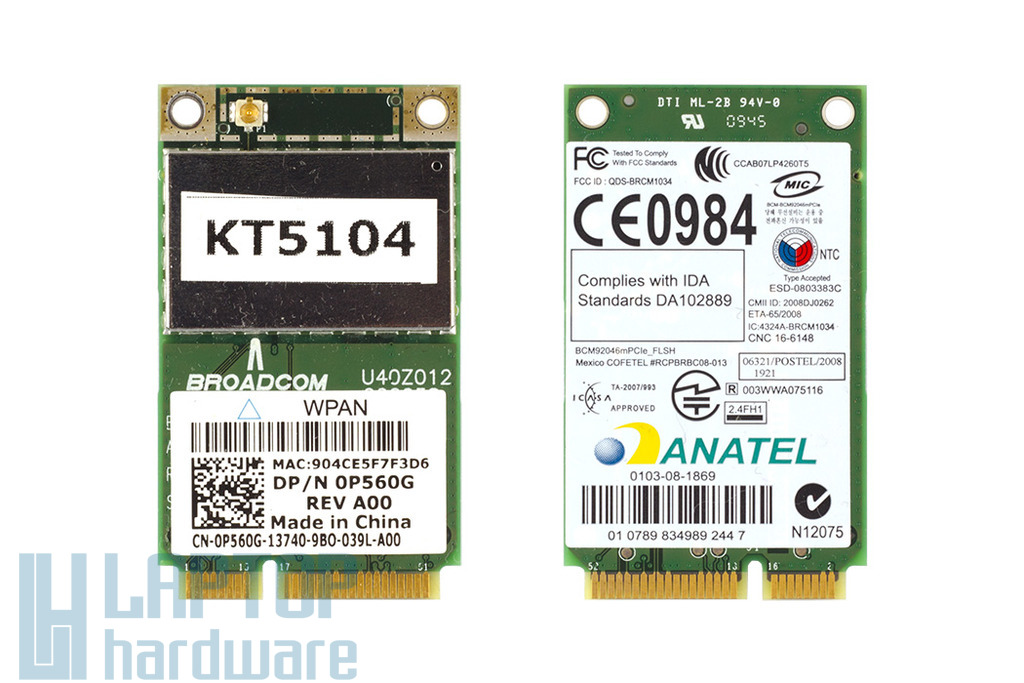 Broadcom Bluetooth Wireless 370 használt Mini PCI-e Bluetooth kártya Dell laptophoz (0P560G)
