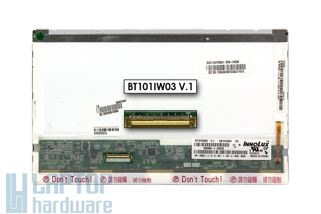 BT101IW0 V.1 használt matt 10.1'' WSVGA (1024x600) LED kijelző Samsung N150 laptophoz (csatlakozó: 40 pin - bal)