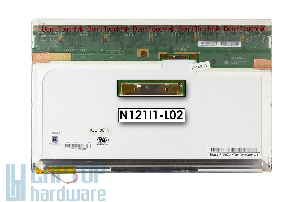 Chi Mei N121I1-L02 CCFL WXGA 1280x800 használt fényes laptop kijelző, N121I1-L02