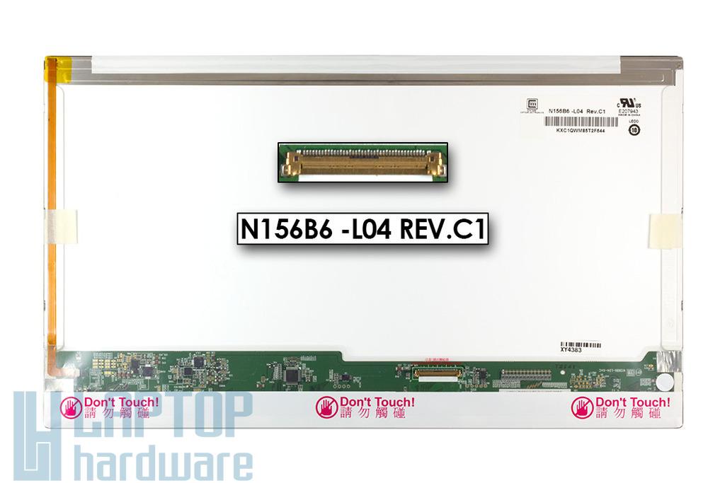 Gyári új fényes 15.6'' HD (1366x768) LED laptop kijelző (csatlakozó: 40 pin - jobb)