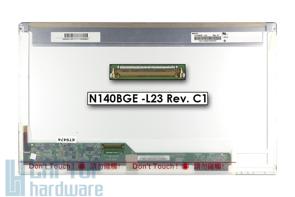 Gyári új fényes 14.0'' HD (1366x768) LED laptop kijelző (csatlakozó: 40 pin - bal)
