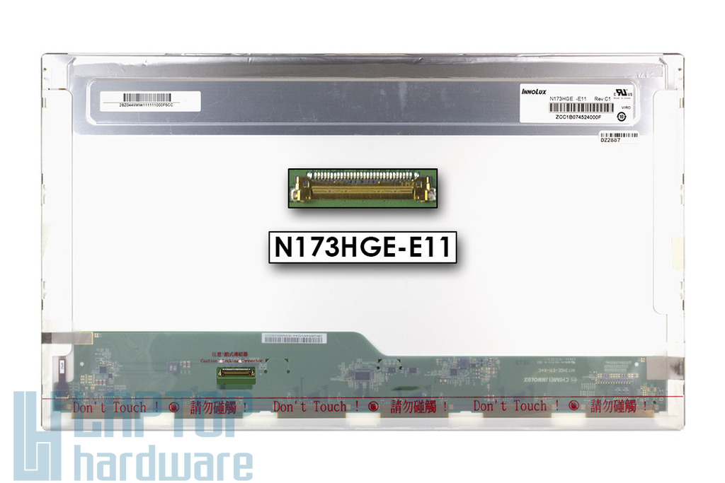 Gyári új fényes 17.3'' Full HD (1920x1080) LED laptop kijelző (csatlakozó: 30 pin - bal)