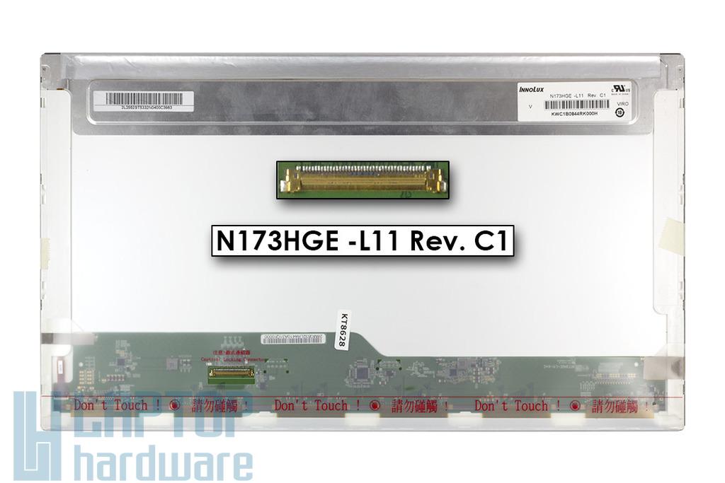 N173HGE-L11 Rev. C1 használt matt 17.3'' Full HD (1920x1080) LED laptop kijelző (csatlakozó: 40 pin - bal)