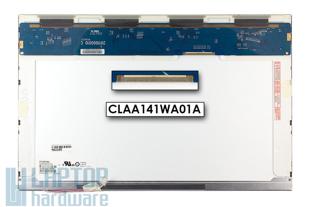Chunghwa CLAA141WA01A gyári új fényes 14.1'' (1280x800) CCFL laptop kijelző (csatlakozó: 30 pin - jobb top)
