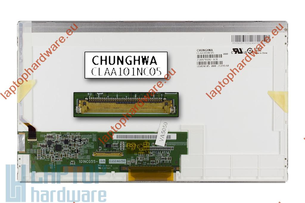 CHUNGWA CLAA101NC05 10,1 inch WSVGA 1024x600 használt matt C kategóriás LED netbook kijelző