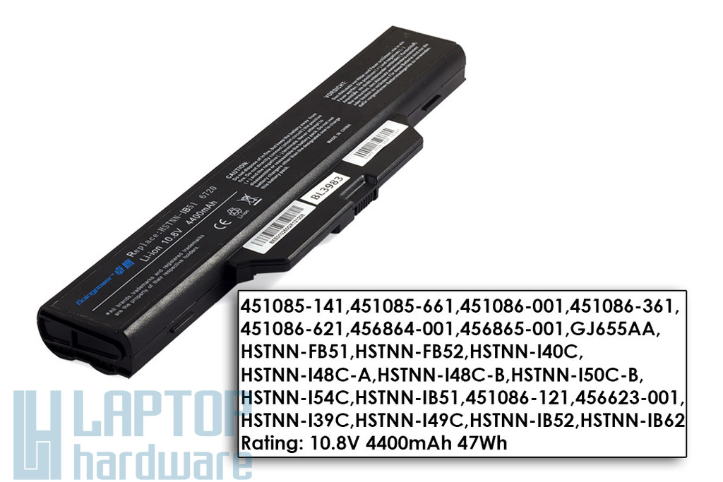 Compaq 610, 615, HP 6720s, 6730s használt 6 cellás 90%-os helyettesítő akku/akkumulátor  HSTNN-IB51