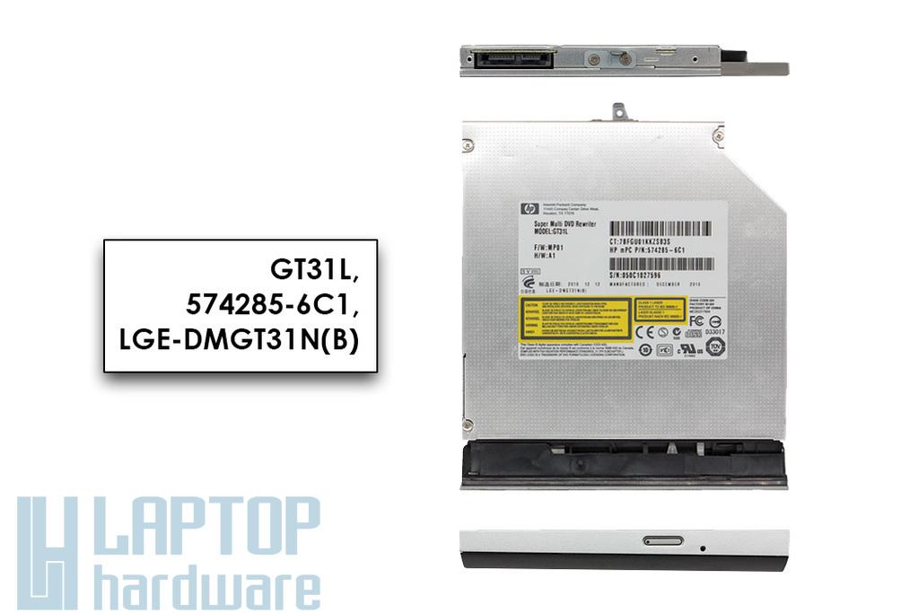 Compaq Presario CQ62, G62 laptophoz használt SATA DVD író előlappal (GT31L, 574285-6C1)