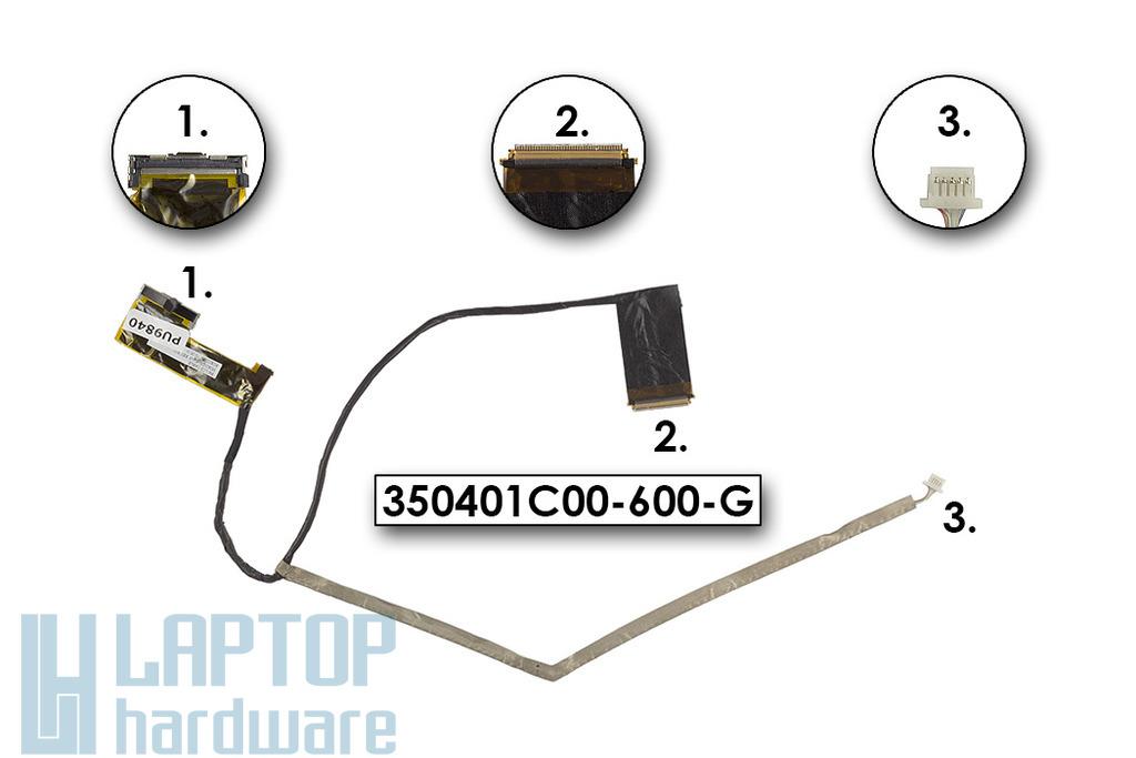 """Compaq Presario CQ62, HP G62, G62T laptophoz (15,6"""" LED) gyári új LCD kábel, 350401C00-600-G"""