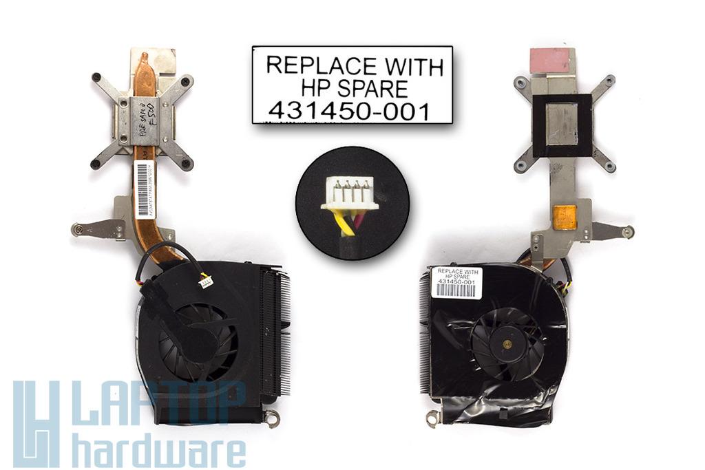 Compaq Presario F500, F700 használt komplett laptop hűtő ventilátor egység (431450-001, AB7305HF-DBB)