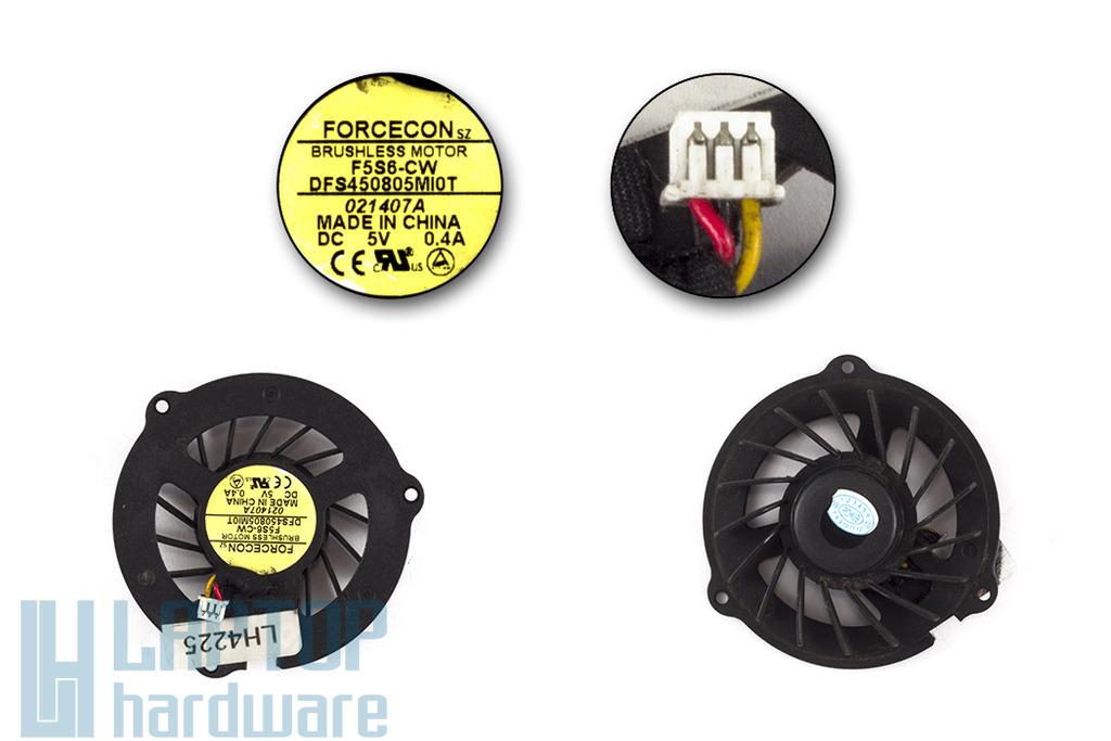 Compaq Presario V3000, HP Pavilon DV2000, DV2009TX, DV2100, DV2121TX, DV2800 használt laptop hűtő ventilátor (DFS450805MI0T)