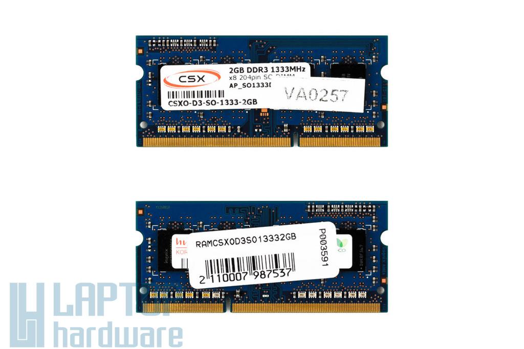 2GB DDR3 1333MHz gyári új laptop memória