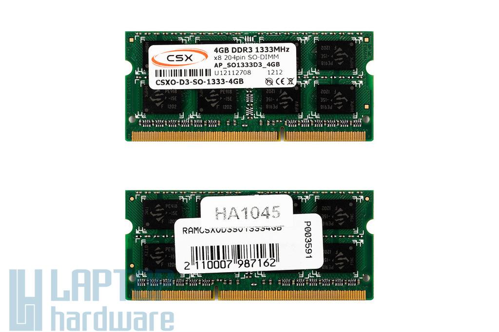 4GB DDR3 1333MHz gyári új laptop memória