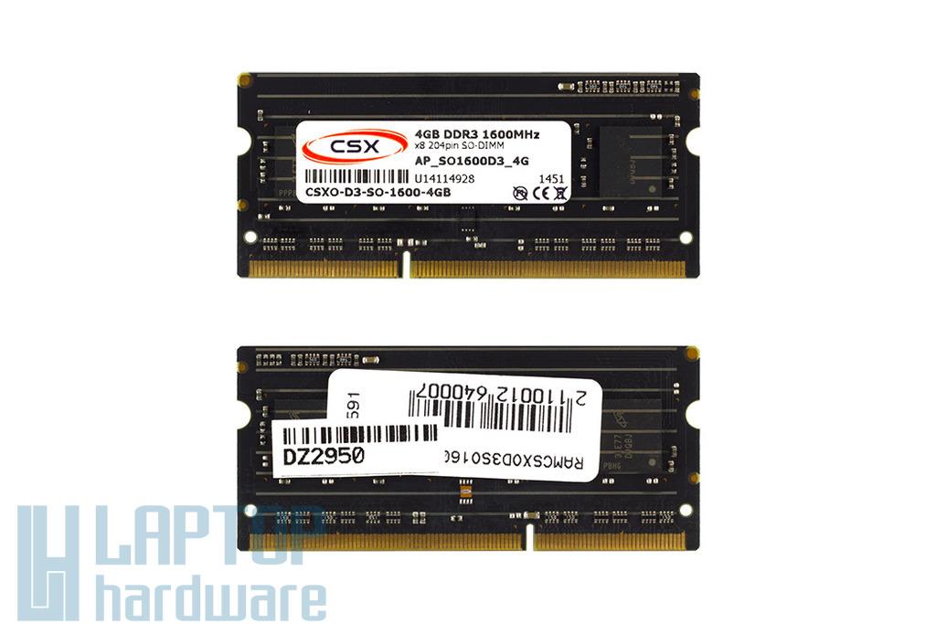 4GB DDR3 1600MHz gyári új laptop memória