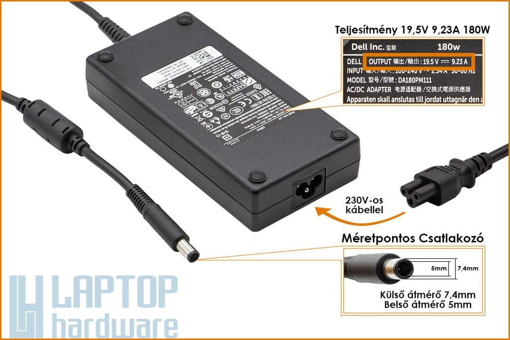 Dell 19.5V 9.23A 180W gyári új laptop töltő (ADP-180MB, 0WW4XY)