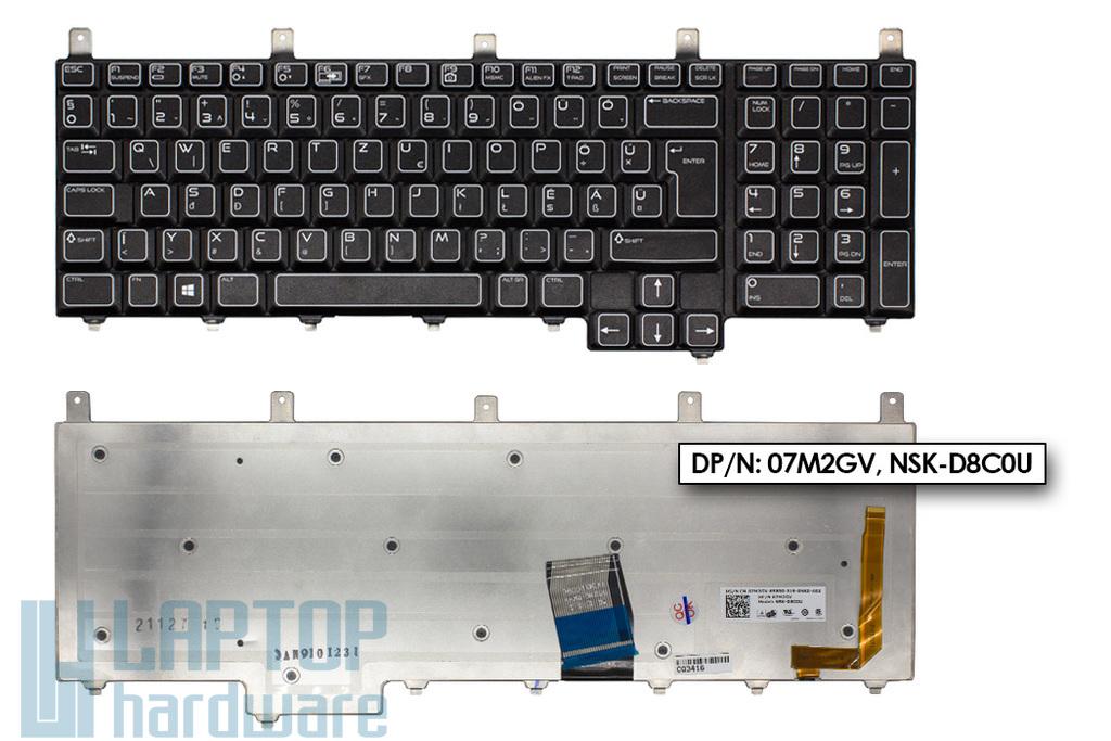 Dell Alienware M17x, M18x gyári új magyarított háttér-világításos laptop billentyűzet (07M2GV, NSK-D8C0U)