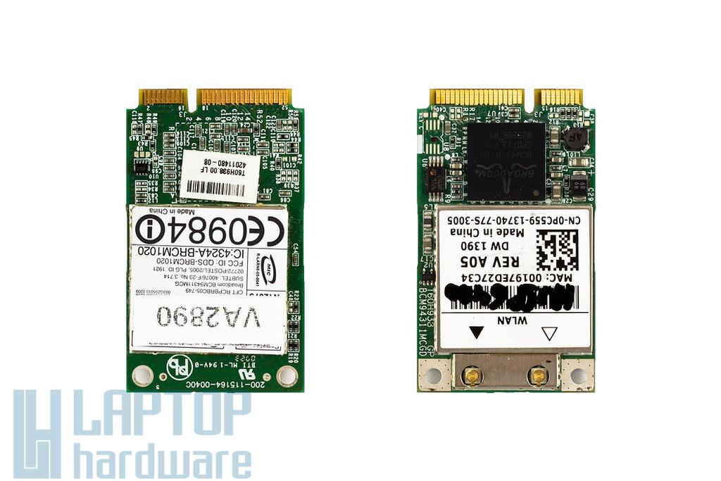 Broadcom BCM94311MCG használt Mini PCI-e WiFi kártya Dell laptophoz (0PC559)