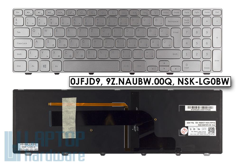 Dell Inspiron 7537 gyári új ezüst magyar háttér-világításos laptop billentyűzet, 0JFJD9