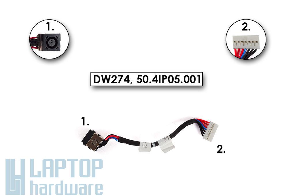 Dell Inspiron M5040, N5040, N5050 használt DC tápaljazat kábellel (07DC46, 50.4IP05.001)