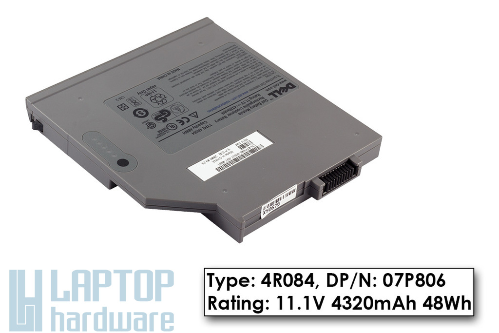 Dell Latitude D420, D820 gyári új 6 cellás másodlagos laptop akku/akkumulátor (07P806)